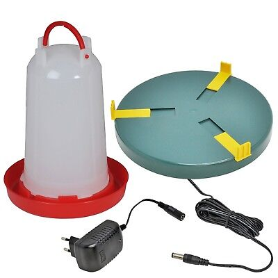 SET: Drinker Warmer + 6 Ltr Drinker Quail Chick Poultry Pigeon Hen Duck Heater