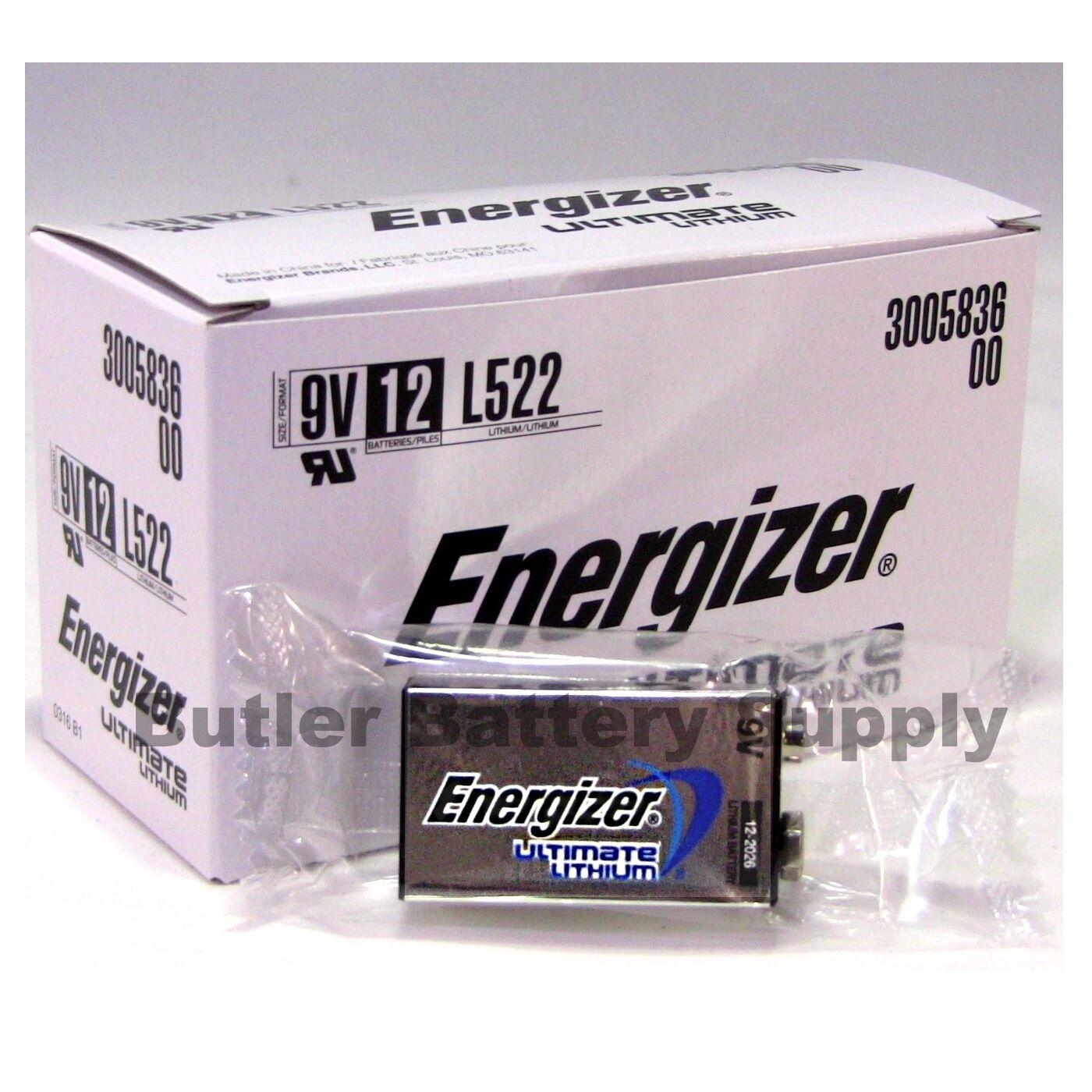 12 Energizer Ultimate Lithium 9v (9 Volt) Batteries (l522...