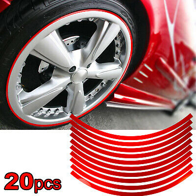20x Red Reflective Car Wheel Hub Rim Stripe Sticker Wheel Decal Conspicuity Tape
