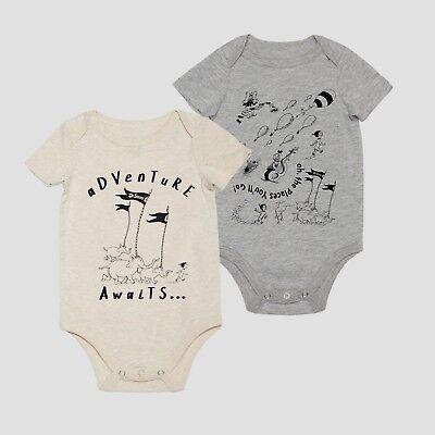Dr. Seuss Lot of 2 Baby Boy or Girl Bodysuits NWT NB 3 6 9 18 Mo Gray Almond](Dr Seuss Baby)