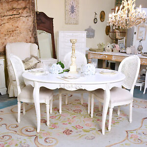 Shabby Cottage Chic Oval White Dining Table Vintage French Style White Roses Part 82