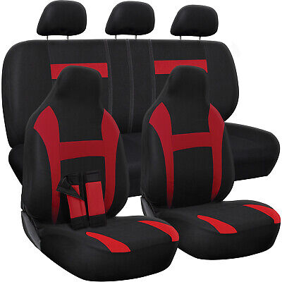 10pc Set Red & Black Auto Car Seat Covers w/ Belt Pads Head Rests