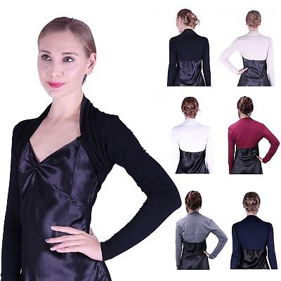 Womens Long Sleeve Shrug Bolero Cropped Knit Stretch Cardigan Short Top Sweater Cropped Long Sleeve Sweater