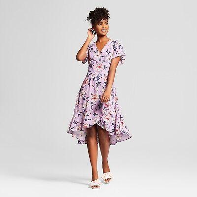 - Xhilaration Dusty Lilac Floral S/Sleeve High Low Hem Wrap Midi Dress XXL NWT