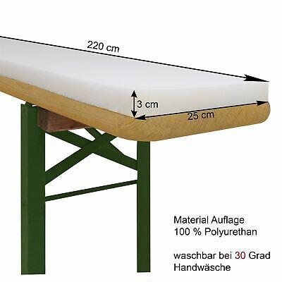 Bierbank Sitzauflage Schaumstoff-Polster Bierzeltgarnitur-220x25x3cm-Extra Dick