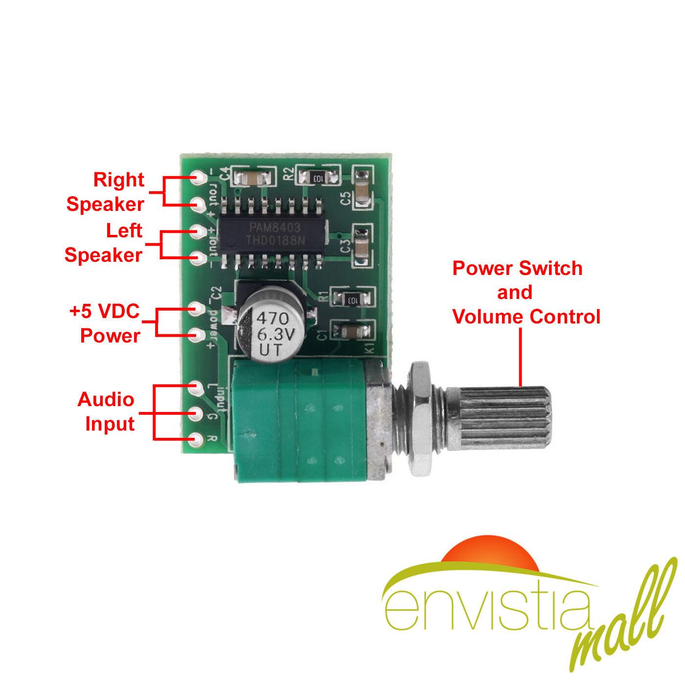 pam8403 3w stereo audio power amplifier board