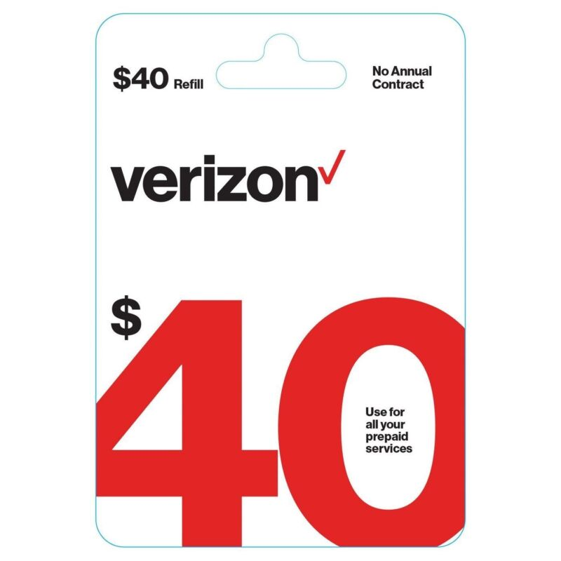 Brand New $40 Verizon Wireless Prepaid Refill Phone Card (Email Delivery)