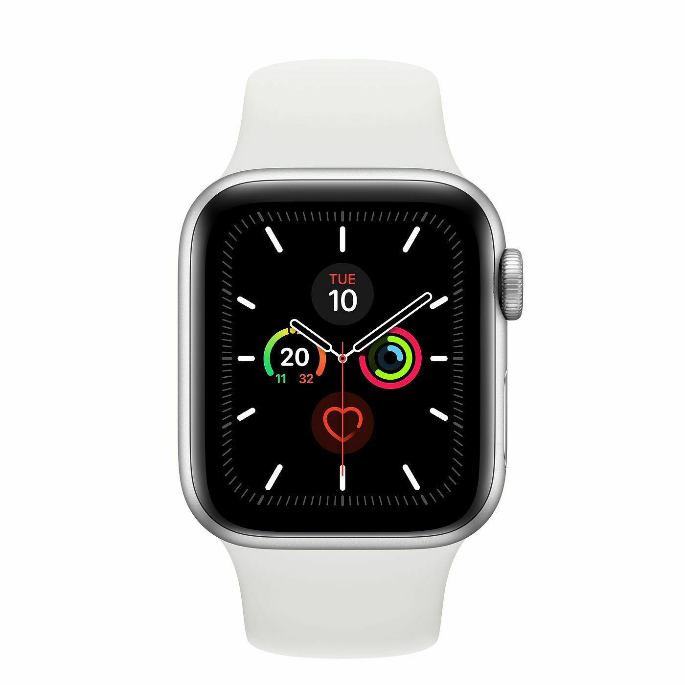 Nuevo Apple Watch 40mm Series 5 Silver Aluminum Case w/ White Sport Band MWV62