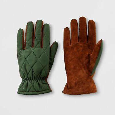 Men's Quilted Fleece Nylon Lined Leather Gloves - Goodfellow & Co