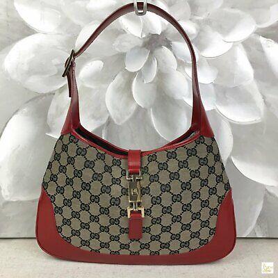 $895 GUCCI Navy Blue GG Web Canvas Red Leather Trim Jackie O Shoulder Bag SALE!