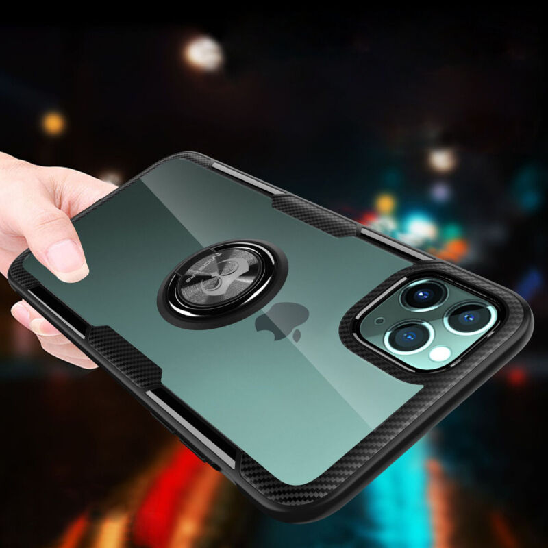 For iPhone 11 / 11 Pro / 11 Pro Max Clear Case Shockproof Protective Ring Cover