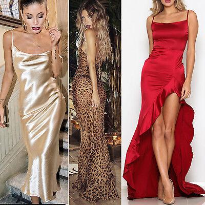 Women Silky Evening Maxi Dress Long Sparkle Slit Xmas Party Prom Ball Wedding NY](Christmas Attire)