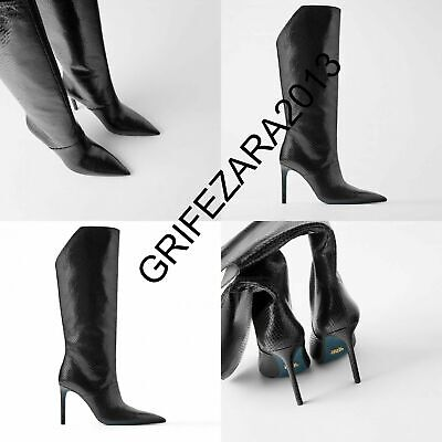 ZARA BLUE COLLECTION ANIMAL PRINT TEXTURE LEATHER HEELED BOOTS BLACK R. 5035/001