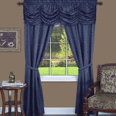 5PC Light Filtering Semi-Sheer Window Curtain Set -  Panels Valance and Tiebacks Window Treatment Semi Sheer