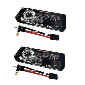 2x Thunder Power RC TP8200-2SRP55 8200mAh 7.4V 55C 2S LiPo Battery, Traxxas