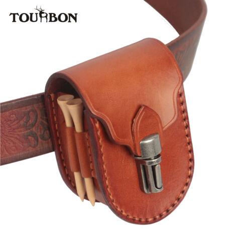 Tourbon Handmade Leather Golf Ball Pouch Accessories Divot T