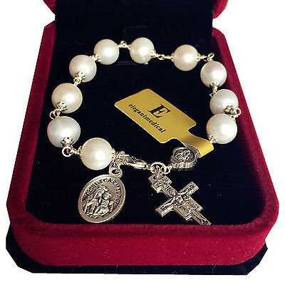(Silver Wire Wrap UNDOUBTED Freshwater Pearl BEAD CATHOLIC ROSARY BRACELET CROSS )
