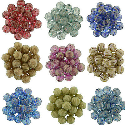 25 Czech Glass Round Melon Beads 8MM Picasso *** Halo * Marble * Marea * Luster - Marble Beads