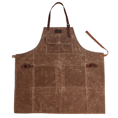 Tourbon Wax Canvas Work Shop Apron For Menwomen With Pockets Leather Strap