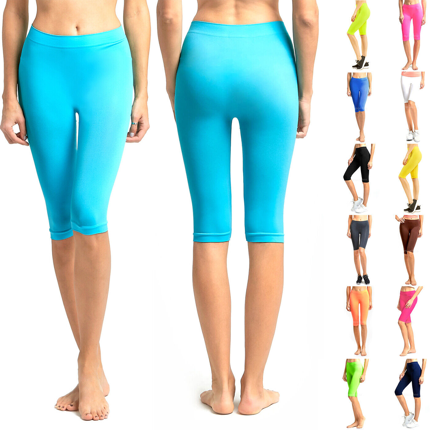 Womens Leggings Biker Shorts Dance Workout Yoga Black Nylon
