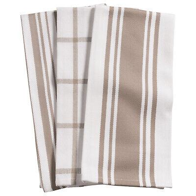 KAF Home Centerband/Basketweave/Windowpane Kitchen Towels, Set of 3, Taupe