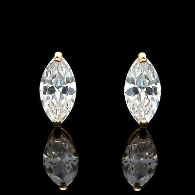 1.00ct Marquise Cut Solitaire Earrings Studs Real 14K Yellow Gold Heavy Basket