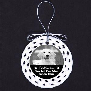 Memorial Pet Dog Cat Custom PHOTO Porcelain Ornament Gift Loss Furbaby