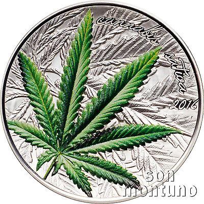 2016 Benin Cannabis Sativa 1 Oz Marijuana High Relief Silver Proof Coin Box Coa