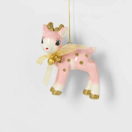 Target Wondershop Retro Pink Deer Fawn Christmas Ornaments HTF Sold Out