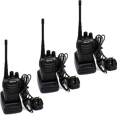 3PACK Walkie Talkies Retevis H-777 UHF400-470MHz 16CH 5W 2-Way Radio USB Plug UK