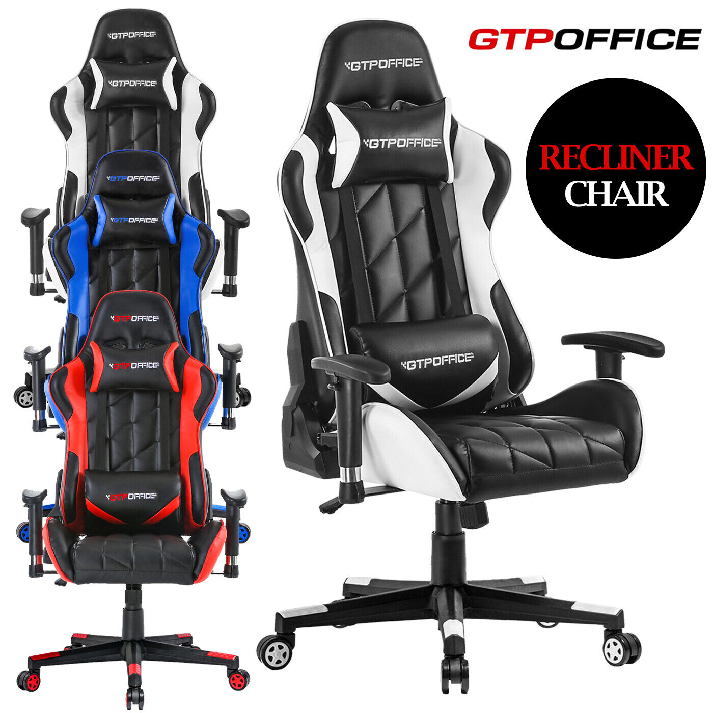 High-Back Swivel Gaming Chair Ergonomic Office Chair W/ Lumb