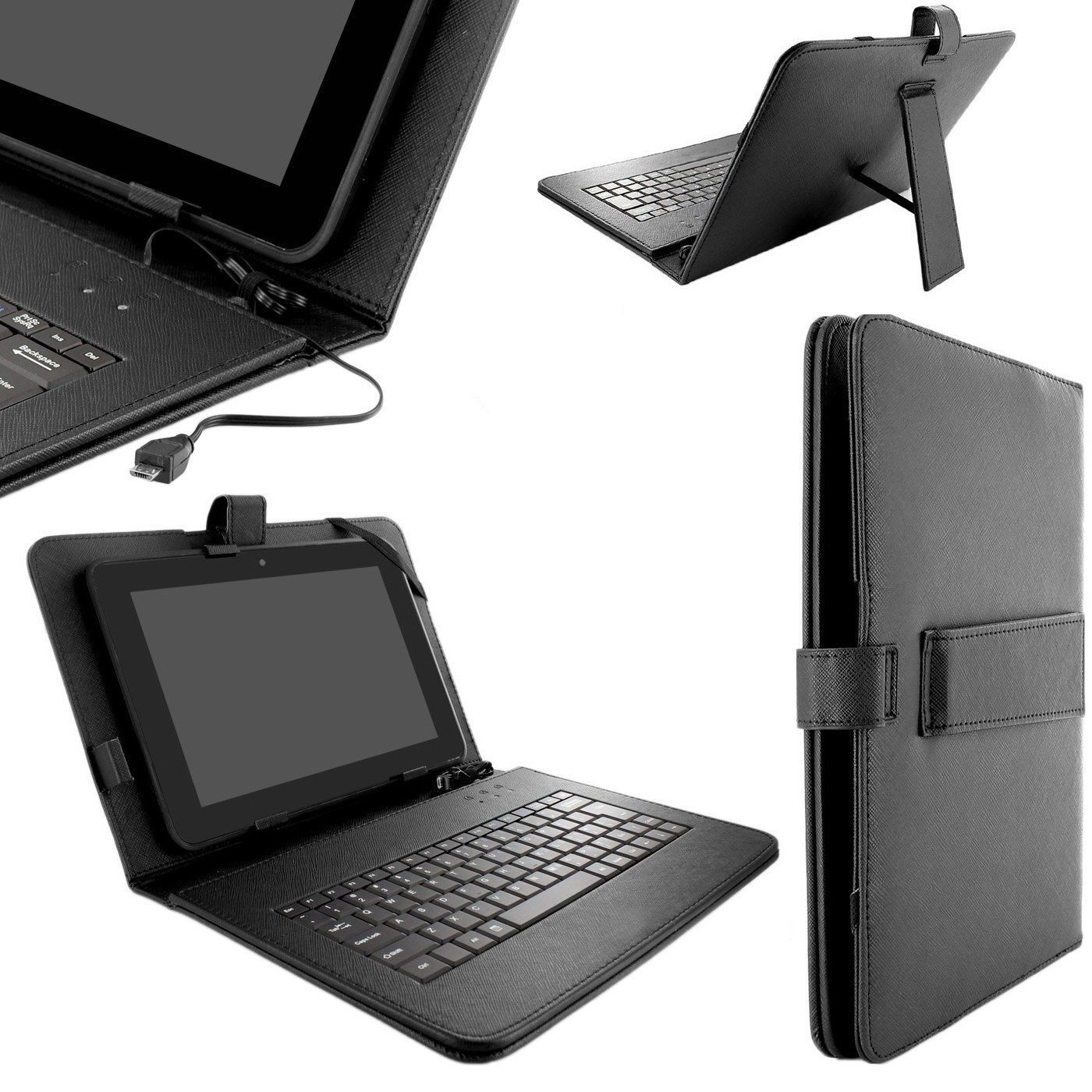 Universal Tablet Keyboard Case Folio Cover Micro USB Cable