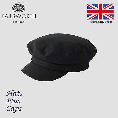 Failsworth Melton Wool Mariner Breton Cap Black Greek Fiddler Sailor Fishing Hat Black Wool Cap
