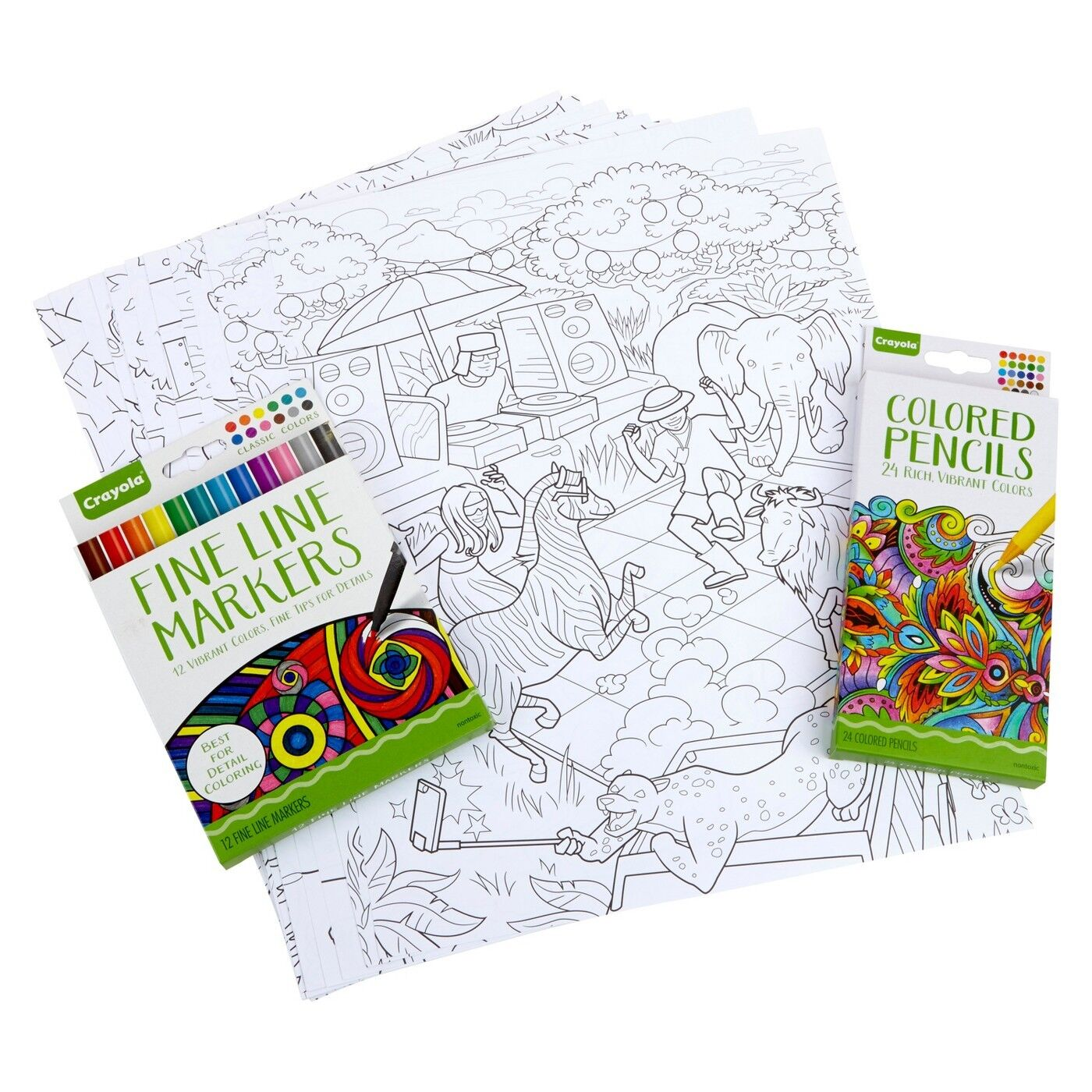 NEW Crayola Family Escapes Group Coloring Scenes 60 Pc Set ...