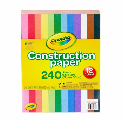 "Crayola Construction Paper Super Pack 12 Colors 240 Sheets 9"" x 12"" NEW"