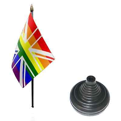 12 Paquete Arcoiris Union Jack 15.2cm x 10.2cm Escritorio Mesa Bandera con...