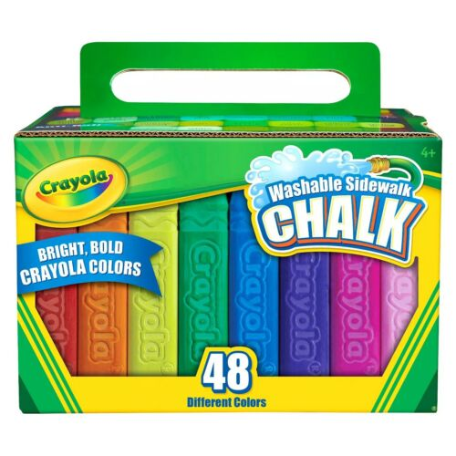 Crayola 48CT Washable Sidewalk Chalk Assorted Bold Bright Vibrant Colors Kids