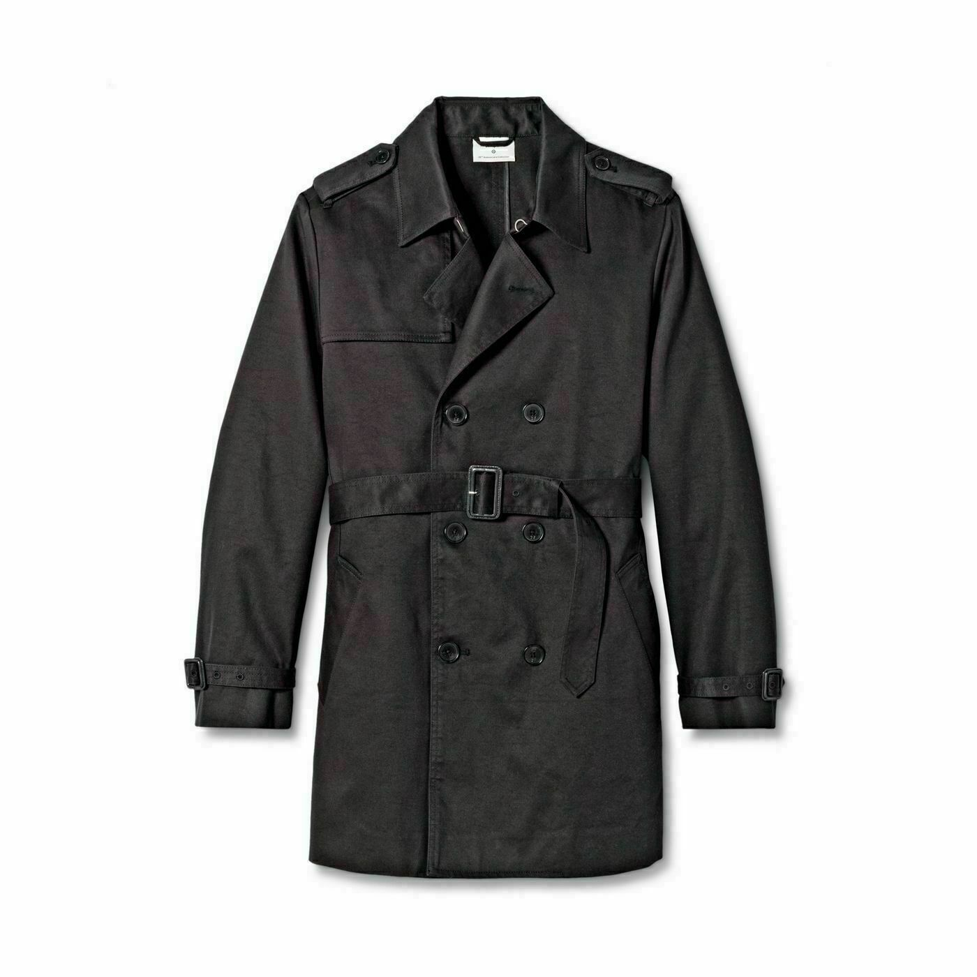 3.1 Phillip Lim Mens Front Button-Down Trench Coat (Black Small) Clothing, Shoes & Accessories