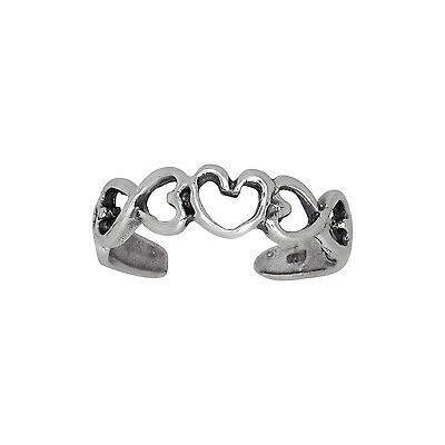 Sterling Silver .925 Hearts and Infinity Toe Ring adjustable size | Made In USA