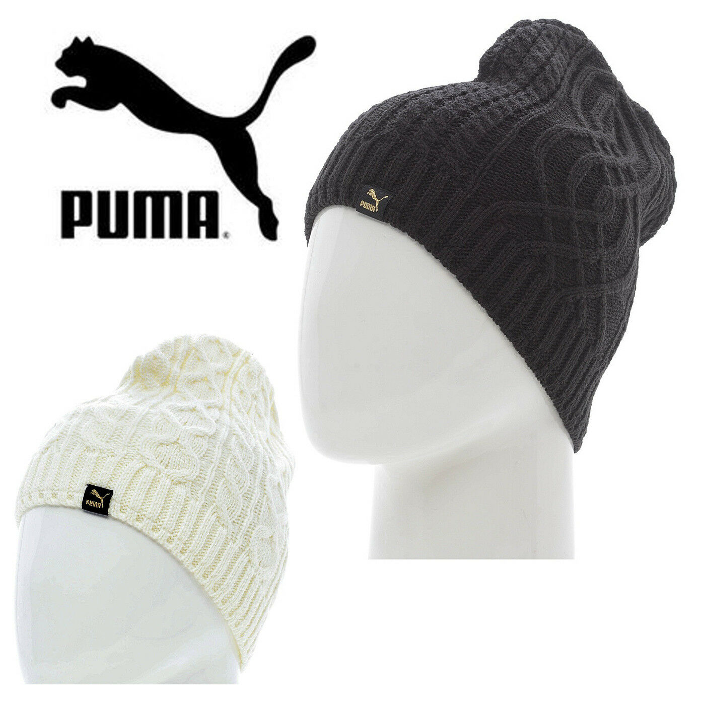 902b8dffbec3e Details about PUMA Mens Mele Cable Knit Beanie Hat Fleece Lined Winter Hats  CLEARANCE SALE