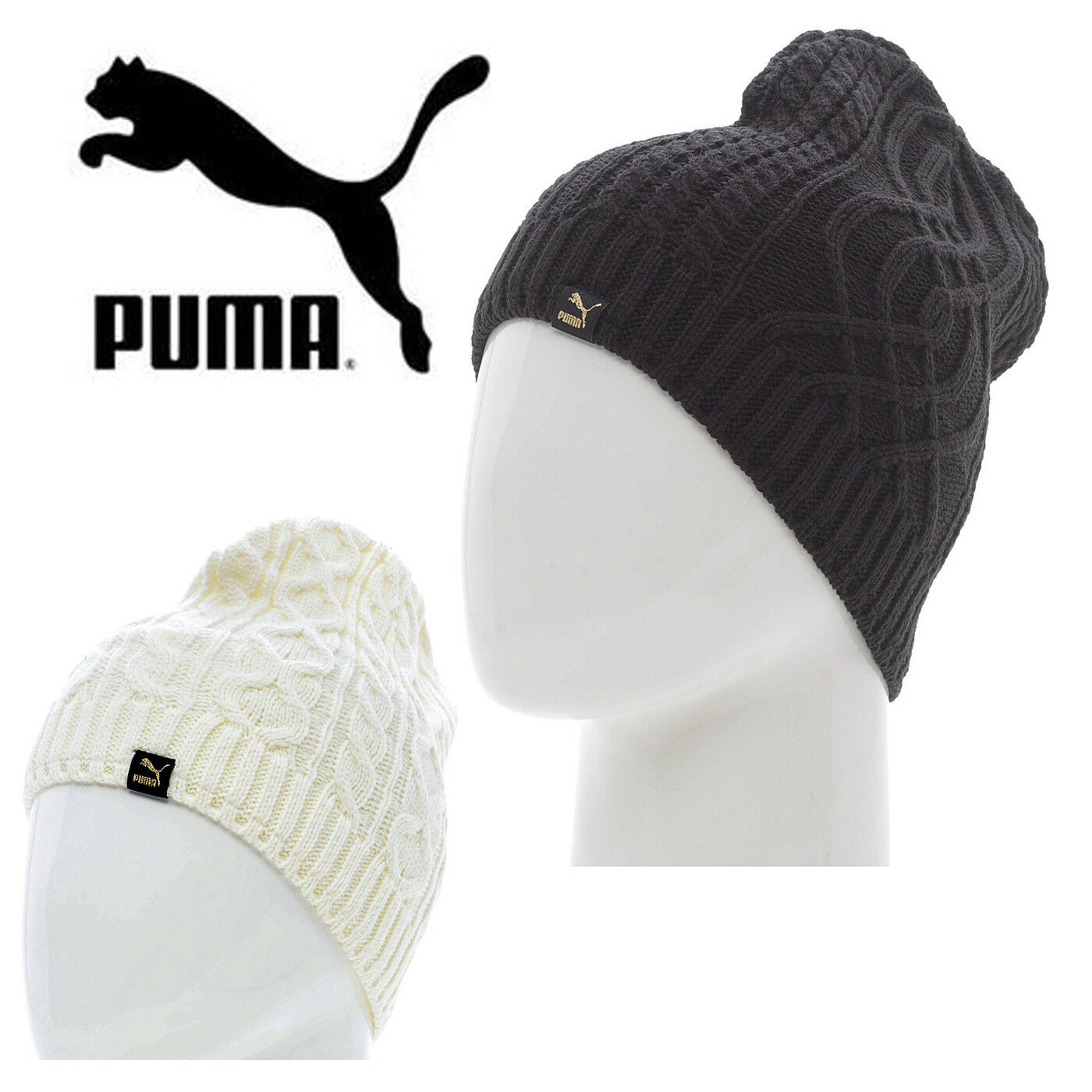 7c476a49f Details about PUMA Mens Mele Cable Knit Beanie Hat Fleece Lined Winter Hats  CLEARANCE SALE