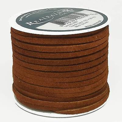 """Suede Lace Med. Brown 1/8"""" x 25 yds. by Silver Creek Real Leather Made USA"""