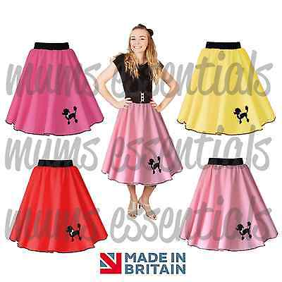 Girls Kids 50s Polyester POODLE SKIRT, Swing Rock and Roll, Dance, Fancy Dress - 1950 S Costume
