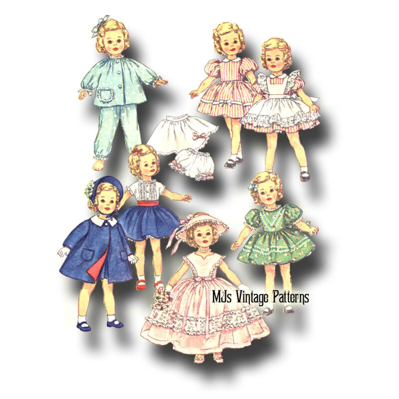 """Vtg 1950s Doll Clothes Pattern 15"""" Shirley Temple Long Dress, Formal, Petticoat"""