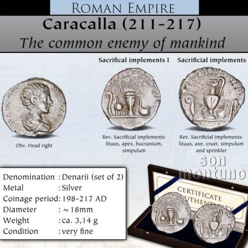 CARACALLA - Set of 2 Ancient Silver Denarius Coins - Roman Empire VF 198-217 AD