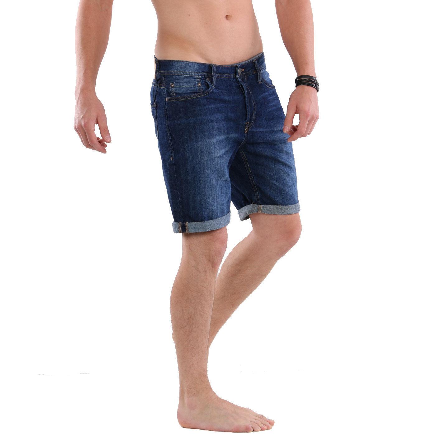 JACK & JONES Herren Regular Jeans Shorts kurze Hose RICK ORIGINAL Blue NZ 013