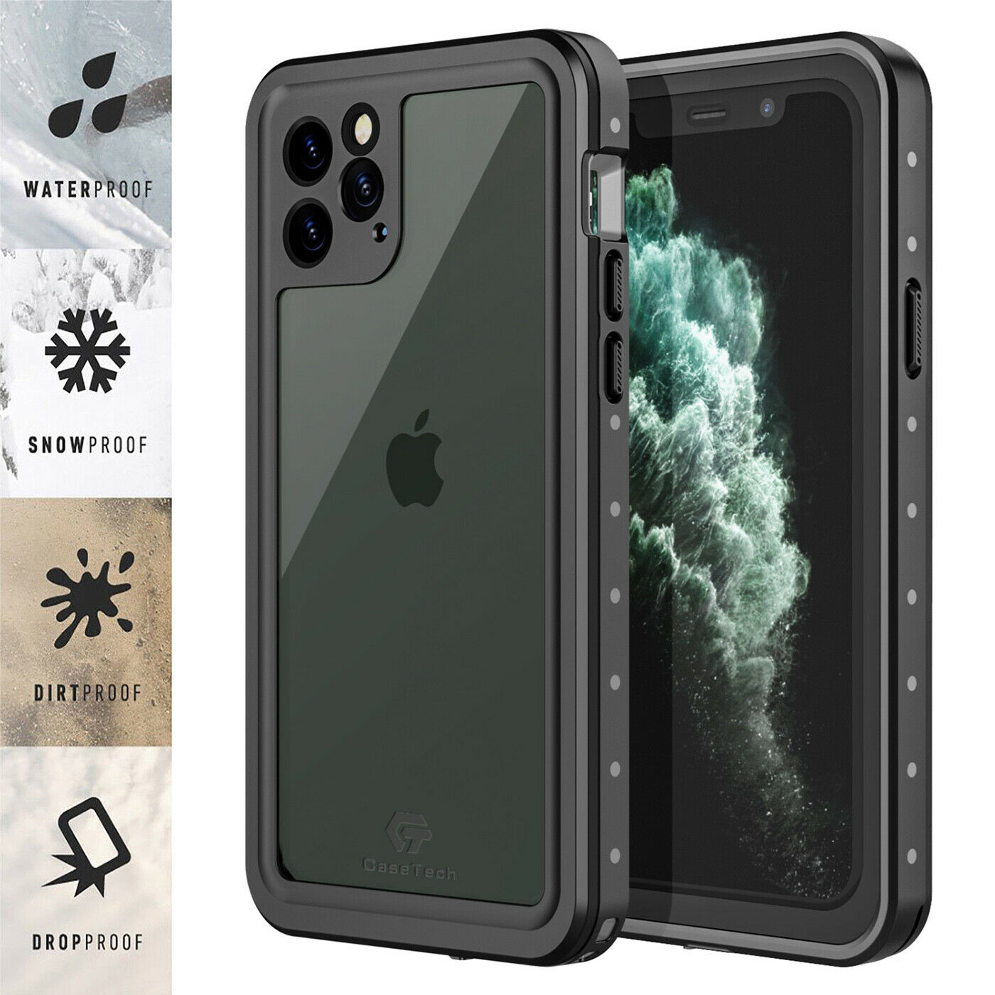 For Apple iPhone 11 Pro Max Waterproof Case Cover w/ Built-i