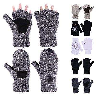 Warm Winter Fliptop Gloves Fingerless Pop Top Convertible Knit Wool (Knitting Fingerless Mittens)