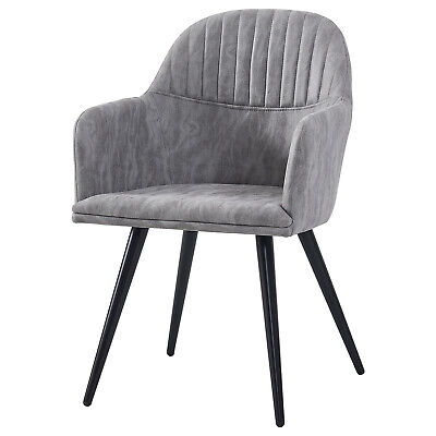 Faux Leather Tub Armchair Dining Chair Grey Office Kitchen Makeup Room Chairs