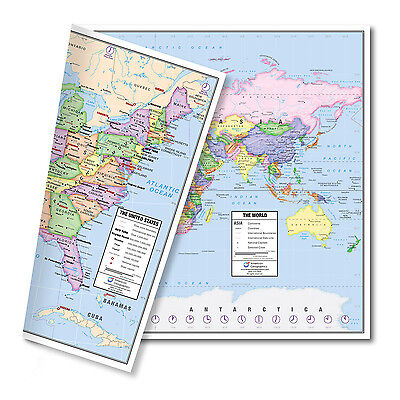 "US and World Desk Map Laminated (13"" x 18"") by American Geographics"
